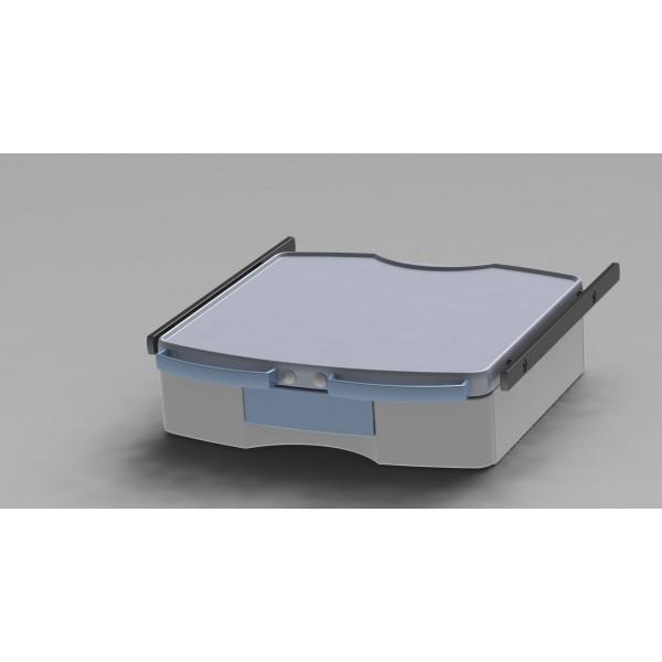 Tablette étroite avec 1 tiroir + 2 rails + 2 poignées + blocage d'axe