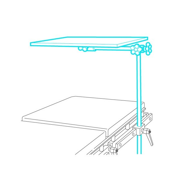 Adjustable instruments table bridge shaped